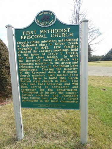Historical marker for First United Methodist Episcopal Church, Cass County, MI