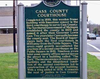 Cass County Courthouse Marker, Cassopolis, MI