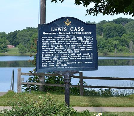 Cass-Lewis Marker at Stone Lake, Cassopolis, Cass County, MI