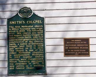 Smith's Chapel and Cemetery Markers, Milton Township, Cass County, MI