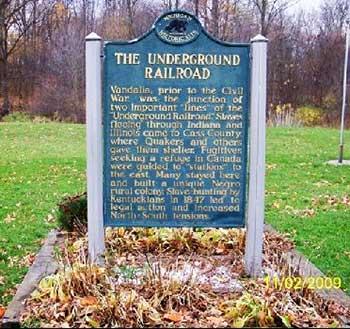 Underground Railroad marker in Vandalia, Cass County MI