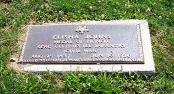 Elisha Johns Civil War Medal of Honor Recipient, Cass County, MI