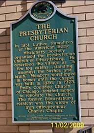 Historic First Presbyterian Church Plaque, Edwardsburg, Cass County MI