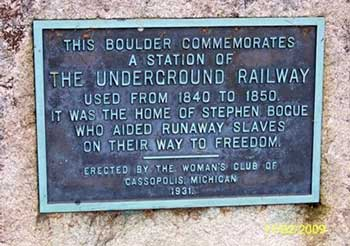 Stephen Bogue Marker for Underground Railroad Abolitionist work, Cass County, MI